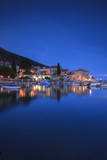 Bol Harbour Lit Up at Dusk  Bol  Brac Island  Dalmatian Coast  Croatia  Europe