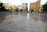 Inscribed Stone in a Square in Central Valencia  Valencia  Spain  Europe