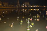 Offerings Floating Along River During Loi Krathong Festival