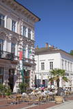 Outdoor Cafes in Klauzal Square  Szeged  Southern Plain  Hungary  Europe