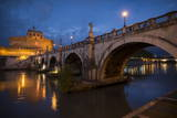 Pont Sant' Angelo and Castel Sant' Angelo at Dusk  Rome  Lazio  Italy  Europe