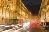Via Po Avenue Lit Up at Night by Passing Traffic  Turin  Piedmont  Italy  Europe