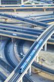 Road Interchange and Metro Train  Dubai  United Arab Emirates  Middle East