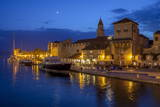 Waterfront Lit Up at Dusk  Trogir  UNESCO World Heritage Site  Dalmatian Coast  Croatia  Europe