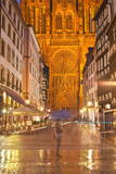 Rain Soaked Streets in Front of Strasbourg Cathedral  Strasbourg  Bas-Rhin  Alsace  France  Europe