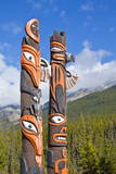 Traditional Canadian Native Totem Poles at Sunwapta Falls Resort