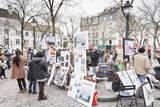 Paintings for Sale in the Place Du Tertre  Montmartre  Paris  Ile De France  France  Europe