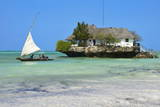 Tourist on a Traditional Dhow Boat  the Rock Restaurant  Bwejuu Beach  Zanzibar  Tanzania