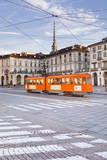 A Tram Passes Through Piazza Vittorio Veneto  Turin  Piedmont  Italy  Europe