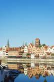 Canal Side Houses and Skyline  Gdansk  Poland  Europe
