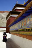 Tibetan Pilgrim Circling the Base of Kumbum Chorten (Stupa) in the Palcho Monastery at Gyantse