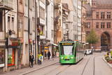 A Tram Runs Down the Streets of Basel in Switzerland  Europe