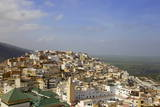 Aerial View of the Green Tiled Roofs of the Sacred City of Moulay Idriss