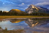 Mount Rundle Rising Above Vermillion Lakes Drive at Sunset