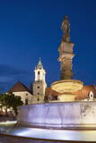 Old Town Hall and Roland's Fountain in Hlavne Nam (Main Square) at Dusk