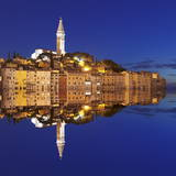 Old Town with Cathedral of St Euphemia Reflecting in the Water at Night  Istria  Croatia  Europe