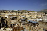 Tannery and Cityscape  Fes (Fez)  Morocco  North Africa  Africa