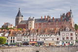 The Town of Gien in Front of the River Loire  Loiret  Centre  France  Europe
