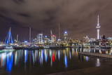 Night View of the City of Auckland from Auckland Harbour  North Island  New Zealand  Pacific