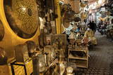 Shop Selling Traditional Metal Lamps and Trays in the Souks