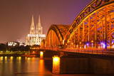 The River Rhine and Cologne Cathedral at Night  Cologne  North Rhine-Westphalia  Germany  Europe
