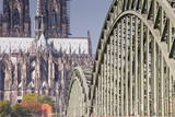 Cologne Cathedral (Dom) and Bridge across the River Rhine