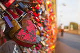 Love Locks Tied onto the Railway Bridge in Cologne  North Rhine-Westphalia  Germany  Europe
