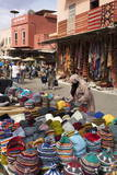 Traditional Colourful Woollen Hats for Sale in Rahba Kedima (Old Square)