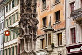 Ornate Architecture Including Painted Buildings in the City of Lucerne  Switzerland  Europe