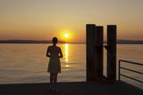 Woman Enjoying the Sunset  Unteruhldingen  Lake Constance  Baden Wurttemberg  Germany  Europe