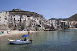 View of Cefalu Beach  Sicily  Italy  Mediterranean  Europe