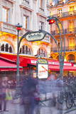 Crowds of People Rushing Through the Entrance to a Metro Station in Paris  France  Europe