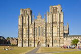 Front Facade of Wells Cathedral  Wells  Somerset  England  United Kingdom  Europe