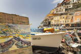 Water Colour Painting of Traditional Fishing Boats and the Colourful Town of Positano