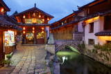 Twilight in the Old Town  Lijiang  UNESCO World Heritage Site  Yunnan Province  China  Asia