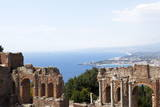 View over the Naxos Coast from the Greek Roman Theatre of Taormina  Sicily  Italy  Europe