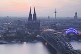 The City of Cologne and River Rhine at Dusk  North Rhine-Westphalia  Germany  Europe
