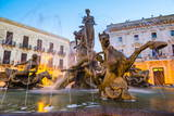 Fountain of Artemis in Archimedes Square (Piazza Archimede) at Night