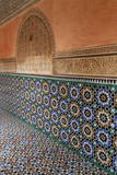 Traditional Moroccan Zallij Tile Work in the Ben Youssef Medersa