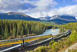 Rocky Mountaineer Train at Morant's Curve Near Lake Louise in the Canadian Rockies