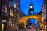 East Gate Clock at Christmas  Chester  Cheshire  England  United Kingdom  Europe