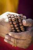A Buddhist Monk Holds Prayer Beads (Japa Mala)  Bodhnath  Nepal  Asia