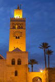 The Minaret of the Koutoubia Mosque Illuminated at Dusk