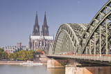 Cologne Cathedral (Dom) across the River Rhine  Cologne  North Rhine-Westphalia  Germany  Europe