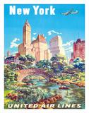 New York - United Air Lines - Gapstow Bridge at Central Park South Pond, Manhattan Giclée par Joseph Feher