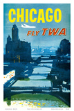 Chicago - Fly TWA Trans World Airlines - Bridges over the Chicago River