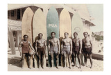 Hawaiian Duke Kahanamoku and his Brothers with Surfboards at Waikiki Beach  Hawaii