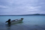 The Boat of a Squid Fisherman in the Pre-Dawn Morning Rests at Anchor in Two Peoples Bay