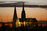 A View of the Chartres Cathedral at Sunset  in Chartres  France