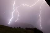 Lightning Bolts Strike Out of Dark Storm Clouds